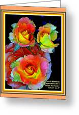 Roses For Anne Catus 1 No. 3 V A With Decorative Ornate Printed Frame. Greeting Card