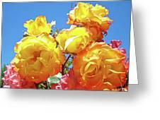 Roses Garden Summer Art Print Blue Sky Yellow Orange Greeting Card