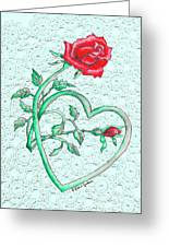 Roses Hearts And Lace Flowers Design  Greeting Card