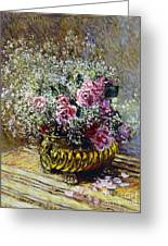 Roses In A Copper Vase Greeting Card by Claude Monet