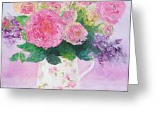 Roses In A Pink Floral Jug Greeting Card