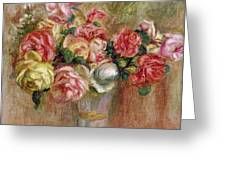 Roses In A Sevres Vase Greeting Card by Pierre Auguste Renoir