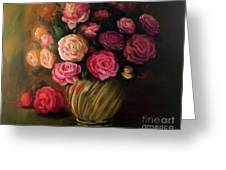 Roses In Brass Bowl Greeting Card