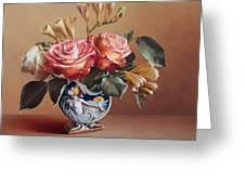 Roses In China Vase Greeting Card