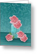 Roses In Clear Blue Jar Greeting Card