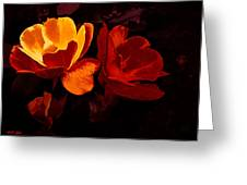 Roses In Molten Gold Art Greeting Card