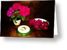 Roses In Vase And Bowl Greeting Card