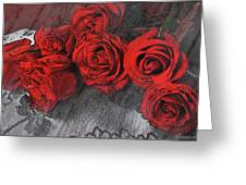 Roses On Lace Greeting Card
