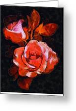 Roses Painted And Drawn Greeting Card