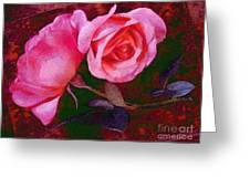 Roses Silked Pink Vegged Out Greeting Card