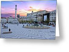 Rossio Square In Lisbon Portugal At Sunset Greeting Card