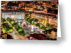 Rossio Square Night Greeting Card