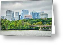Rosslyn Distric Arlington Skyline Across River From Washington D Greeting Card