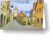 Rothenburg Watercolor Study Greeting Card