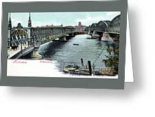 Rotterdam Oude Willemsbrug 1890 Greeting Card