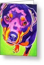 Rottweiler - Summer Puppy Love Greeting Card by Alicia VanNoy Call