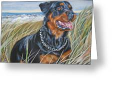 Rottweiler At The Beach Greeting Card