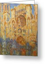 Rouen Cathedral, Facade, Sunset Greeting Card