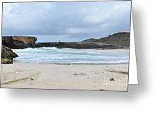 Rough Churning Waters Off The Coast Of Aruba Greeting Card