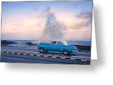 Rough Surf On The Malecon Greeting Card