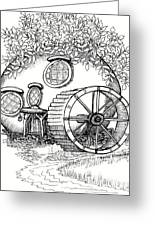 Round Fairy House And Waterwheet Greeting Card