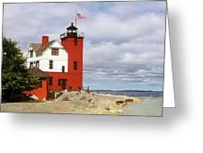 Round Island Lighthouse Greeting Card by Sally Sperry