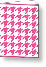 Rounded Houndstooth With Border In French Pink Greeting Card