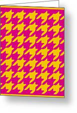 Rounded Houndstooth With Border In Mustard Greeting Card