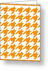 Rounded Houndstooth With Border In Tangerine Greeting Card