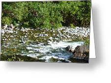 Rounded Rocks In A Rushing River Greeting Card