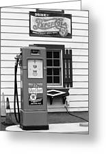 Route 66 - Illinois Vintage Pump Bw Greeting Card