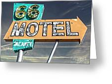 Route 66 Motel Sign Greeting Card by Gregory Dyer