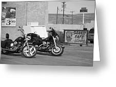 Route 66 Motorcycles Bw Greeting Card