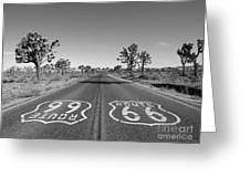 Route 66 With Joshua Trees In Black And White Greeting Card