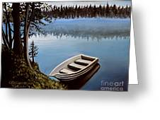 Row Boat In The Fog Greeting Card