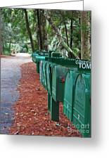 Row Of Green Mailboxes7426 Greeting Card