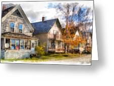 Row Of Houses Hardwick Vermont Watercolor Greeting Card