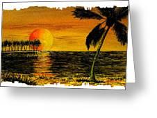 Row Of Palm Trees Greeting Card