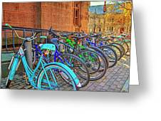 Row Of Student Bikes At Princeton University Nj Greeting Card