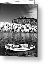 Rowboat Along An Idyllic Sicilian Village. Greeting Card