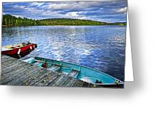 Rowboats On Lake At Dusk Greeting Card by Elena Elisseeva