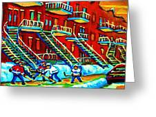 Rowhouses And Hockey Greeting Card