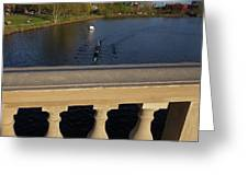 Rowinfg Towards The Weeks Bridge Charles River Harvard Square Cambridge Ma Greeting Card