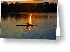 Rowing At Sunset 2 Greeting Card