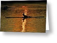 Rowing At Sunset 3 Greeting Card