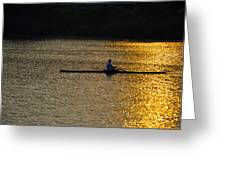 Rowing At Sunset Greeting Card