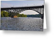 Rowing Under The Strawberry Mansion Bridge Greeting Card by Bill Cannon