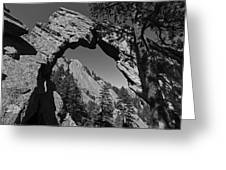 Royal Arch Trail Arch Boulder Colorado Black And White Greeting Card
