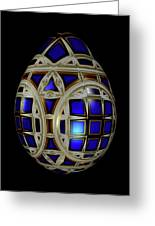 Royal Blue Egg With White Enamel And Goldleaf Greeting Card