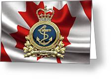 Royal Canadian Navy  -  R C N  Badge Over Canadian Flag Greeting Card